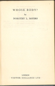 Whose Body? By Dorothy L Sayers