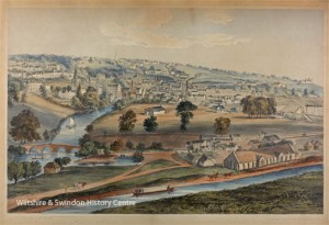 Lithographic print of Bradford on Avon by Elizabeth Tackle, 1850s