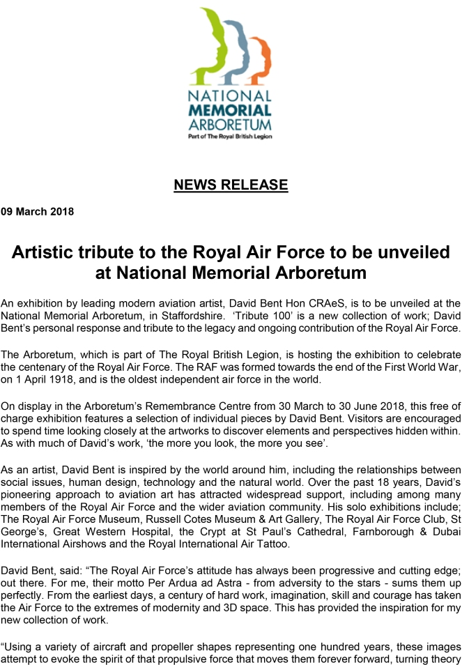Artistic tribute to the Royal Air Force to be unveiled at National Memorial Arboretum-1