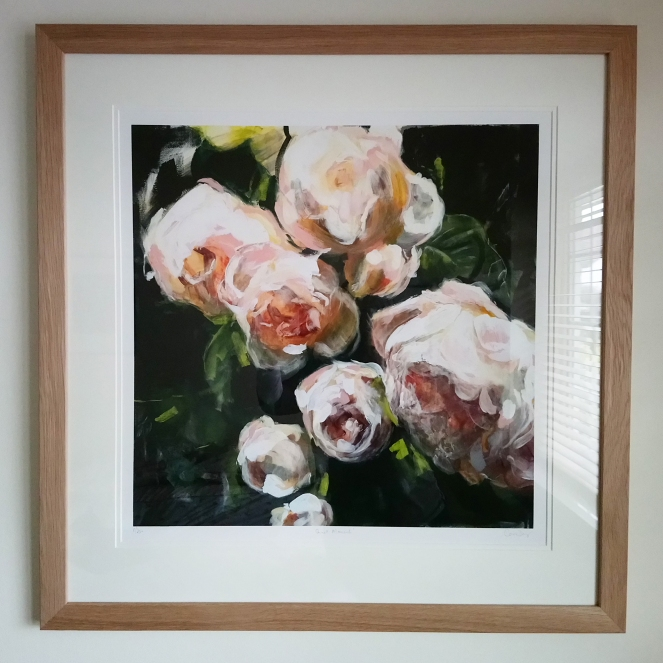 Quiet Moment, used - David Austin Roses. Caroline Day. Limited Edition Image size 50x50cm. Paper 60x60cm, resized